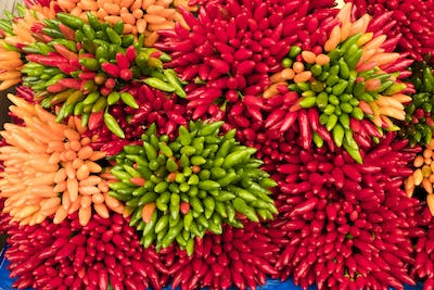 High angle close up of a large bunches of fresh red, green and orange chillies at a market stall.