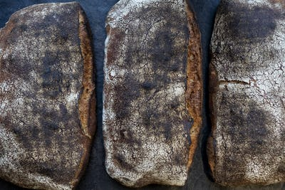 High angle close up of three freshly baked loaves of bread in an artisan bakery.