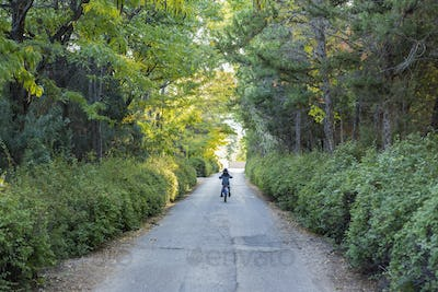 rear view of young boy riding his bike down country road