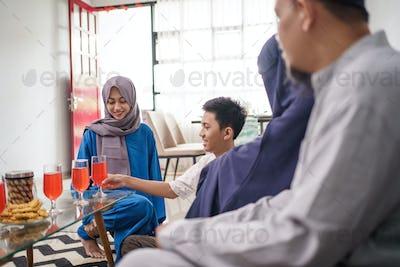 muslim family visit during eid mubarak