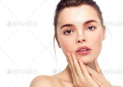 Colorful make-up woman face, beautiful brunette summer makeup  manicure nails