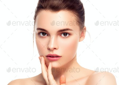 Woman face, beautiful brunette summer makeup with pink lips hand with manicure nails