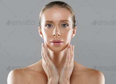 Woman middle age beauty skin, skin care concept, healthy fresh and beautiful.