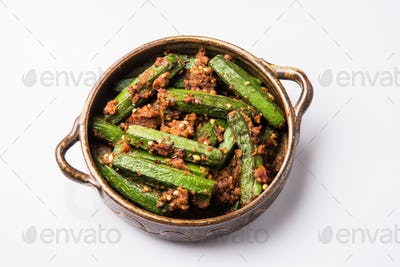 Indian masala fried Okra or bhindi or ladyfinger curry tava fry