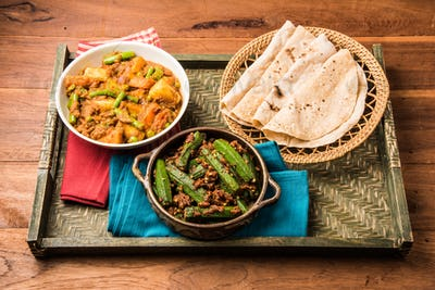 Bhindi masala, ladies finger fry & Mixed veg served with Indian roti