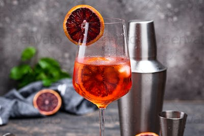 Aperol spritz cocktail with blood orange