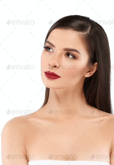 Red Lipstick Woman make Up Beautiful Female Glamour Portrait Young