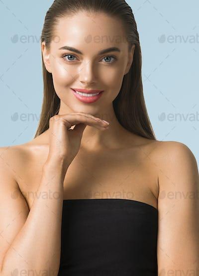 Beautiful eyes lips woman cosmetic concept portrait