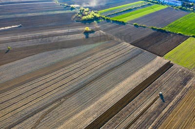 Stripes of agricultural parcels of different crops.