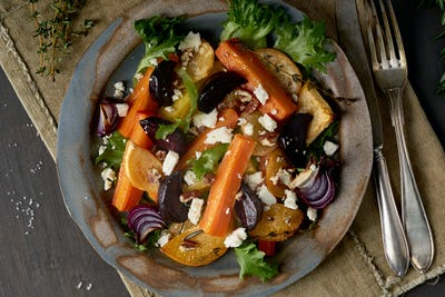 Vegetarian salad sheep cheese, baked roasted vegetables, keto ketogenic dash diet