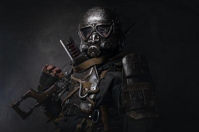 Man in cyborg cosplay costume