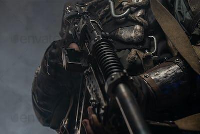Close up photo shoot of cyborg costume