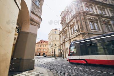 Tram in blurred motion