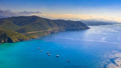 Aerial view of Corsica coastline
