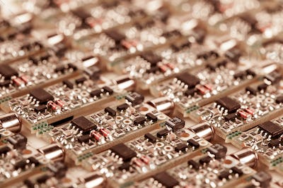 Closeup small microcircuits lie next to each other