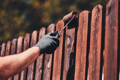 Diligent man is painting fence with brush