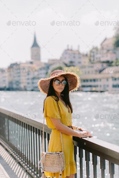 portrait of fashion woman travelling Europe