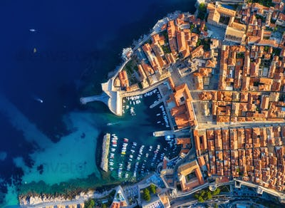 Dubrovnik, Croatia. Air view of the castle and the old town.