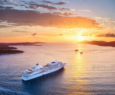 View on cruise liner during sundown on the Croatia. View from the air