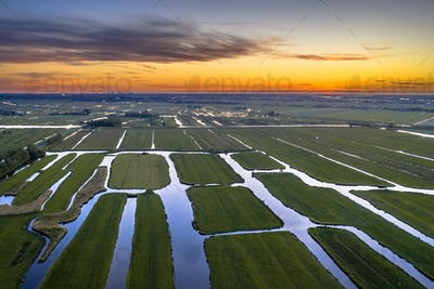 Aerial view of Sunset over Historic dutch Waterland