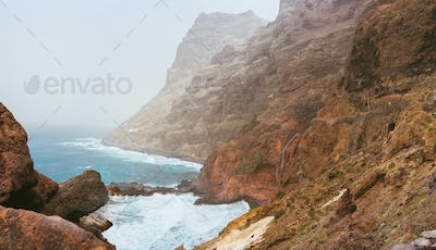 Santo Antao. Cape Verde. Stunning scenery of the coastline. Steep black cliffs stretched out ahead