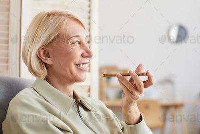 Woman recording a message