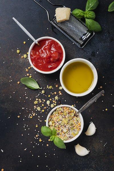 Ingredients for cookind vegetarian mix of legume
