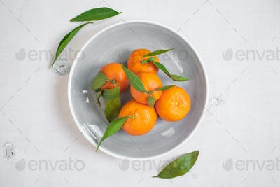 Tangerines with green leaves on white wooden background. Vertical