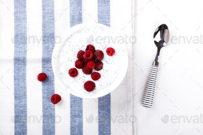 Yogurt with Chia seeds and fresh Raspberries Breakfast.