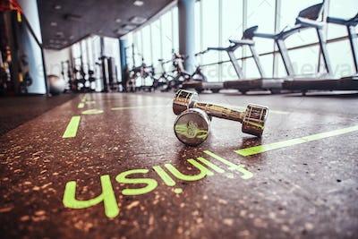 Dumbbells lying on the floor in the fitness center.