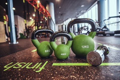 Set of weights and dumbbells on the mat in the fitness center.