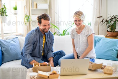 Happy couple with hamburgers sitting on sofa indoors at home, using laptop