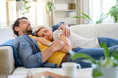 Happy couple in love on sofa indoors at home, sleeping