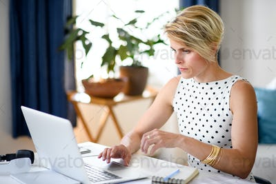 Serious young businesswoman with laptop indoors in home office, working