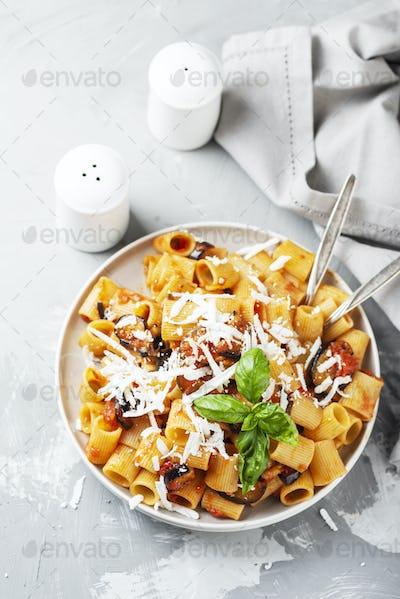 Traditional Italian dish pasta alla norma