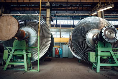 Impellers with vanes on turbine factory, nobody