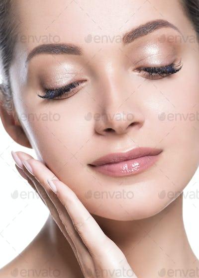 Eyes beauty woman healthy fresh skin macro portrait