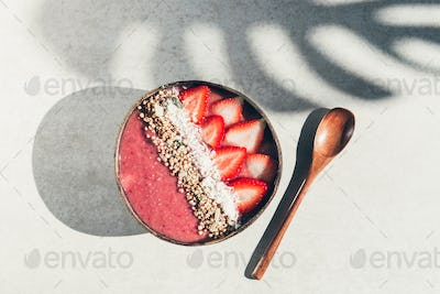 Strawberry Smoothie in Coconut Bowl