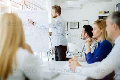 Business plan explained on flipchart