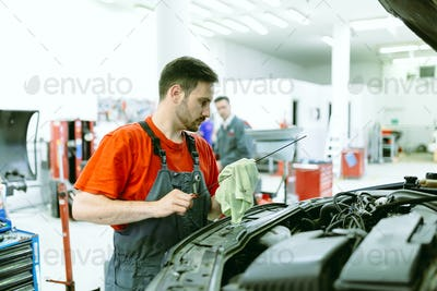 Car mechanic upkeeping car