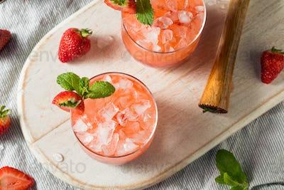 Homemade Boozy Strawberry Mint Smash Cocktail