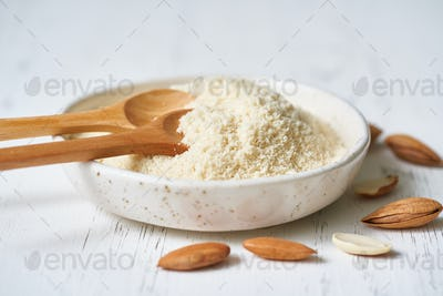 Alternative almond flour. White background, side view, close up