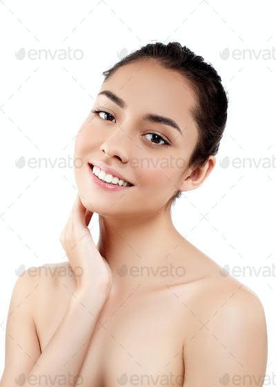Happy young model  clean fresh skin beauty spa concept