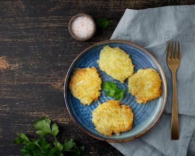 Hashbrown, hash brown potatoes fried pancakes, traditional american cuisine.