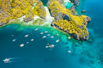 Palawan, Philippines aerial view of entrance to big lagoon. Natural scenery of tropical Miniloc