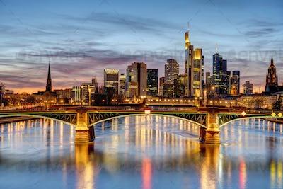 Dramatic sunset over downtown Frankfurt