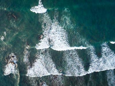 Aerial view of sea waves in the seaside
