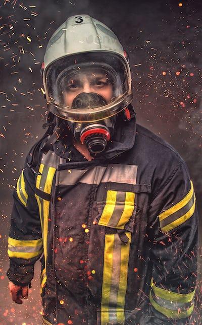 Portrait of firefighter . Concept art