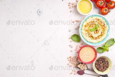 Hummus white background