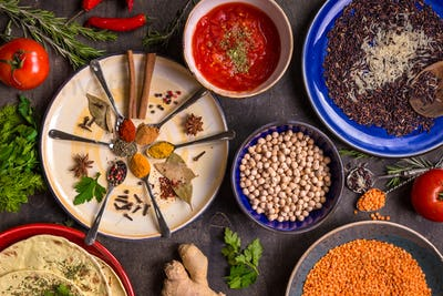 Spices, grains and beans